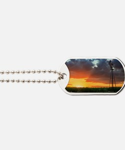 Windmill at Sunset Dog Tags