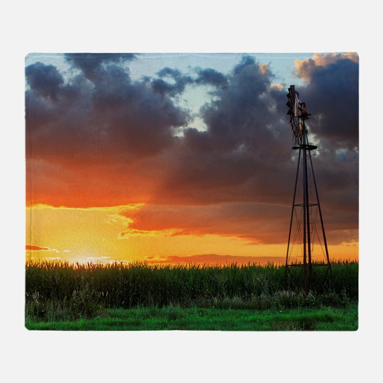 Windmill at Sunset Throw Blanket