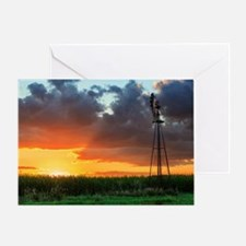 Windmill at Sunset Greeting Card