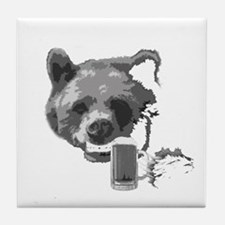 Grin and Beer it white Tile Coaster
