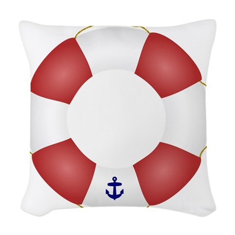 Red and White Life Saver Woven Throw Pillow