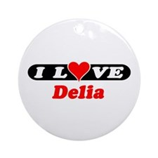 I Love Delia Ornament (Round)