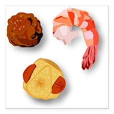 """Meatball, Shrimp, and Pi Square Car Magnet 3"""" x 3"""""""