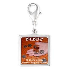 Bribery Silver Square Charm