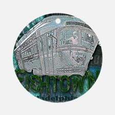 Philadelphia Fishtown Trolley Round Ornament
