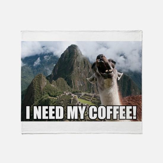 Bossy the Llama coffee Throw Blanket