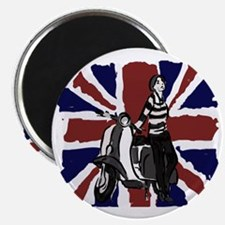 Retro scooter girl and union jack art Magnet