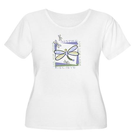 Inspire Dragonflies Women's Plus Size Scoop Neck T