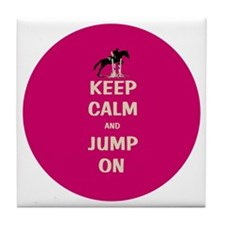 Keep Calm and Jump On Horse Tile Coaster
