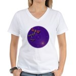 Starry Skies Dragonflies Women's V-Neck T-Shirt