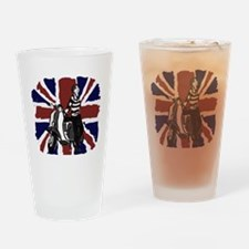 Retro scooter girl and union jack a Drinking Glass
