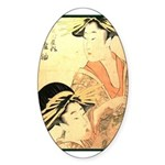 Japanese print Oval Sticker