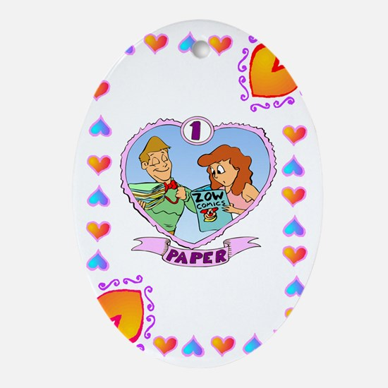 1st Wedding Anniversary, Paper Oval Ornament
