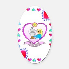 25th wedding anniversary, Silver Oval Car Magnet