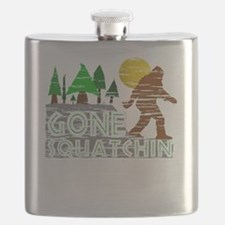 Distressed Original Gone Squatchin Design Flask