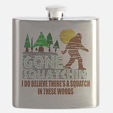 Distressed Original Gone Squatchin Design Flask
