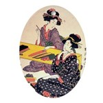 Japanese Art Oval Ornament