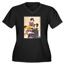 Japanese Art Women's Plus Size V-Neck Dark T-Shirt