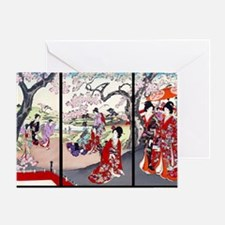 Laptop Cherry Blossom Time Chikanobu Greeting Card