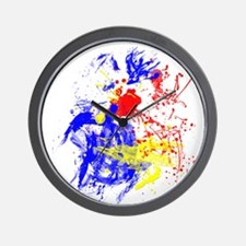 Primary Splatter Wall Clock