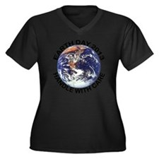 earth122013l Women's Plus Size Dark V-Neck T-Shirt