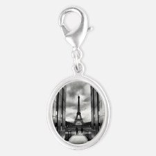Eiffel tower viewed from wall f Silver Oval Charm