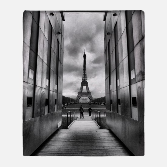 Eiffel tower viewed from wall for pe Throw Blanket