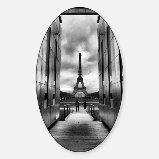 Eiffel tower viewed from wall for p Sticker (Oval)