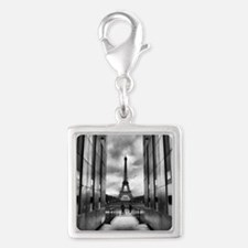 Eiffel tower viewed from wall Silver Square Charm