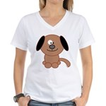 Brown Puppy Women's V-Neck T-Shirt