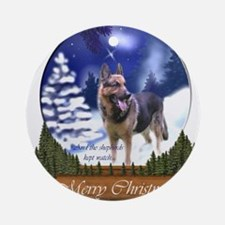 German Shepherd Christmas Round Ornament