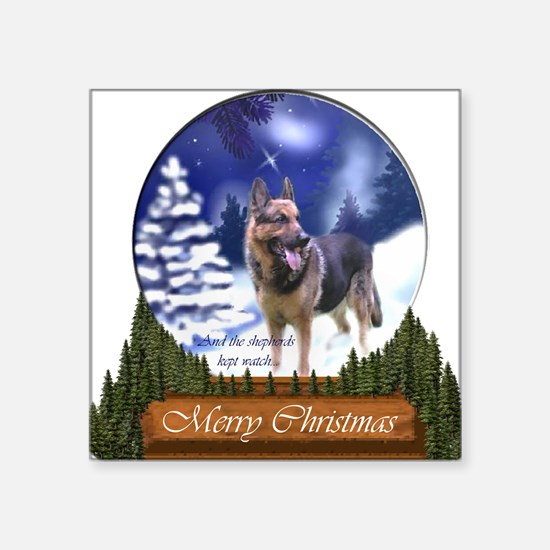 "German Shepherd Christmas Square Sticker 3"" x 3"""
