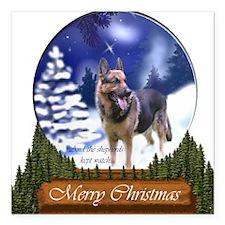 "German Shepherd Christma Square Car Magnet 3"" x 3"""