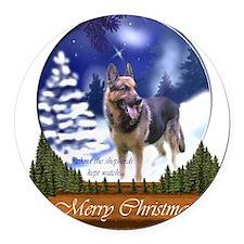 German Shepherd Christmas Round Car Magnet