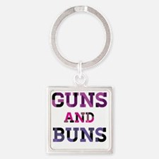 Guns and Buns Square Keychain