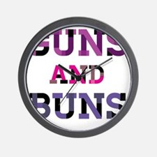 Guns and Buns Wall Clock