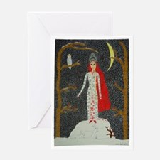 Snow Maiden (Red Version) Greeting Card
