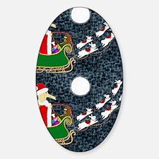 Santa Dachshund Sticker (Oval)
