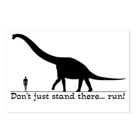 Dinosaur Run Funny T-Shir Postcards (Package of 8)