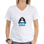 Blue Boxing Penguin Women's V-Neck T-Shirt