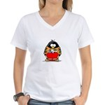 Auto Racing Penguin Women's V-Neck T-Shirt