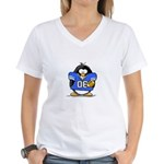 Blue Football Penguin Women's V-Neck T-Shirt