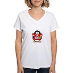 Red Football Penguin Women's V-Neck T-Shirt
