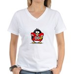 Red Football Penguin Women's V-Neck T-Shirt