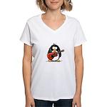 Red Acoustic Guitar Penguin Women's V-Neck T-Shirt