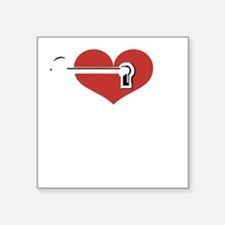 "HeartandKeyDark Square Sticker 3"" x 3"""