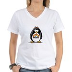 Gay Pride Girl Penguin Women's V-Neck T-Shirt