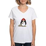 Fireman penguin Women's V-Neck T-Shirt