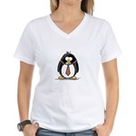 Bad Tie penguin Women's V-Neck T-Shirt