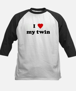I Love my twin Kids Baseball Jersey